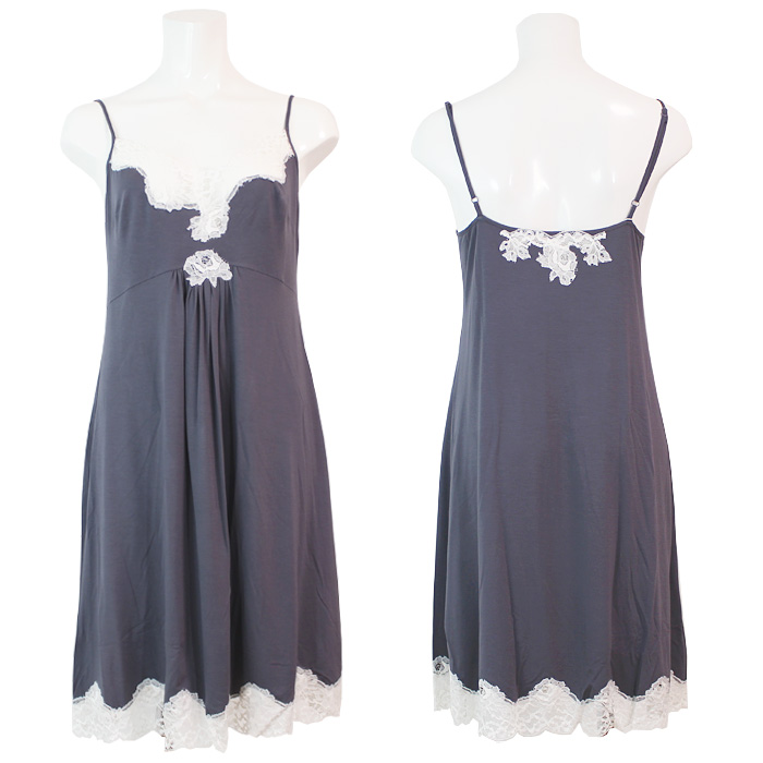 【COEMI】【コエミ】「HUSH」 161C751 モダール ナイトドレス anthracite/cream