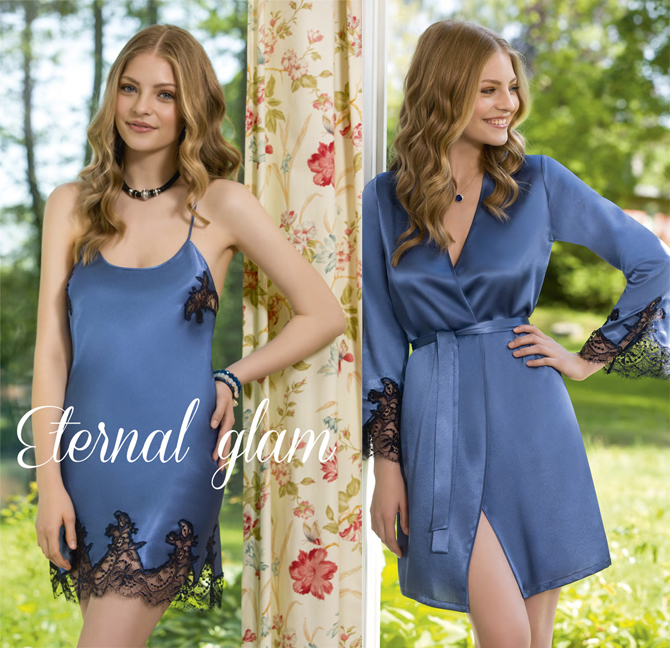 【COEMI】【コエミ】「Eternal Glam」 172812 サテンガウン  Steel Blue/Royal
