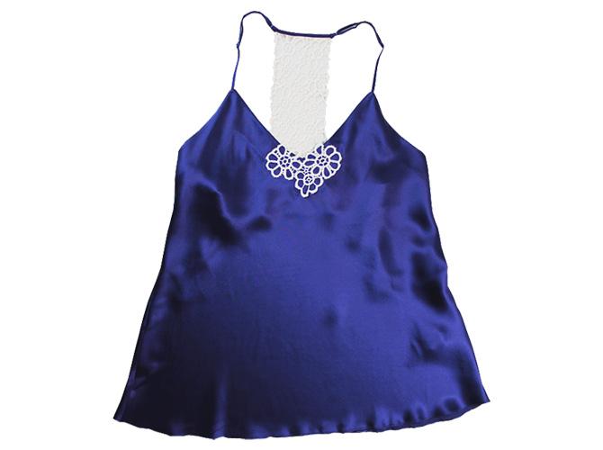 【Luna di Seta】【ルナ ディ セタ】L6T1027 バックレースキャミソール Night Blue